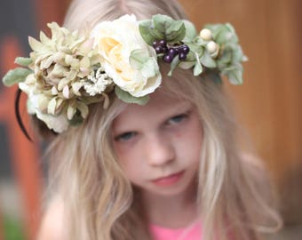 cream And Sage Green Floral Crown, Wreath With Feathers