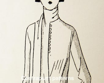 1920s coat-dress sewing pattern, with stylish scarf, and decorative line of buttons.