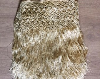 "Antique Crocheted Silk Fringe 17"" x 200"""