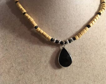 Black Necklace - Silver Jewelry - Beige Wood Jewellery - Pendant - Fashion
