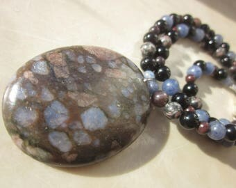 Llanite Rhyolite with Garnet Fossil Crinoid  Necklace
