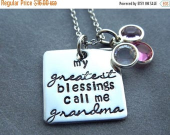 Holiday Sale My greatest blessings call me grandma personalized necklace with birthstone crystals, hand stamped stainless steel