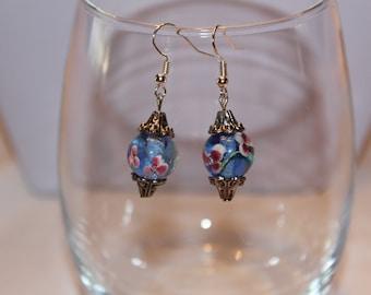 Earrings, Blue Glass Earrings, Glass Earrings, Blue Earrings, Painted Glass Earrings, Unique Earrings, Dangle