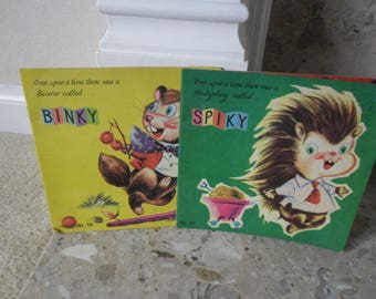 Pair of Vintage Children's Books, Spiky the Hedgehog, Binky the Beaver, A Once Upon a Time Story