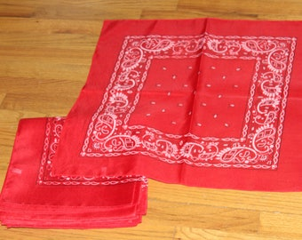 Red Bandanas 15 Single Individual Loose Bandanas Polyester , Western Bandanas , Cowboy Scarves