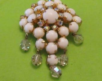 Vintage White Milk Glass Gold Tone Brooch Rhinestones & Crystals