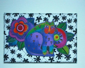 CAT Birthday Postcard Cat Lover HimHer Love Friend Mom Thank You Housewarming Frame Child Room Decor Gift Hi Laurel Burch 4x6 fabric quilted