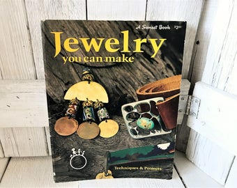 """Vintage craft book """"Jewelry You Can Make"""" instructions projects Sunset 1975- free shipping US"""
