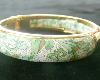 Paisley Bangle Bracelet Clamper Style Green, White, Gold One of a Kind