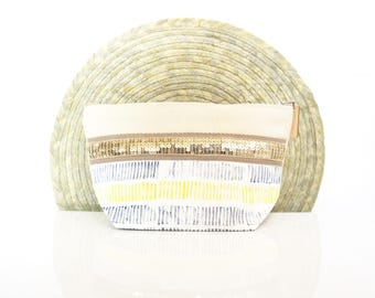 """Make up pouch made in cotton with bleu and yellow cotton and glitter """"Lagos"""" // purse // bathroom"""