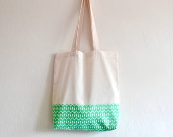 Shopper eco friendly tote market bag accent modern green and white geometric pattern lined print cotton zero waste produce shoulder bag.