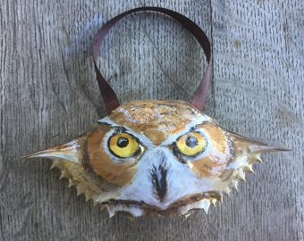 Great Horned Owl Painted Crabshell