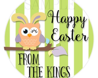24 STICKERS, Personalized Easter Stickers, Easter Bunny Stickers, Happy Easter Stickers, Bunny Stickers, Easter Envelope Labels  (122)