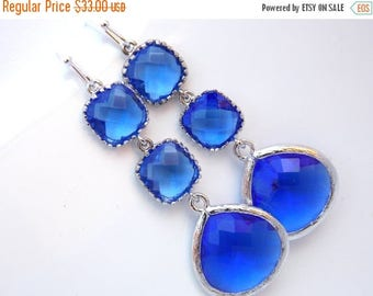 SALE Blue Earrings, Cobalt Blue, Glass Earrings, Long Earrings, Dangle, Silver, Bridesmaid Jewelry, Bridesmaid Earrings, Bridal, Bridesmaid