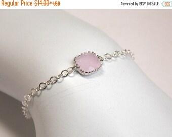 SALE Pink Bracelet, Glass Bracelet, Ice Pink, Light Pink, Sterling Silver, Wedding Jewelry, Bridal, Bridesmaids Bracelet, Bridesmaid Gifts