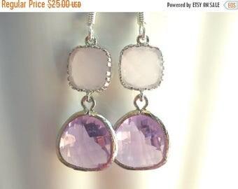 SALE Glass Earrings, Lavender Earrings, Soft Pink Earrings, Purple, Wedding, Bridesmaid Earrings, Bridal Earrings Jewelry, Bridesmaid Gifts