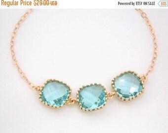SALE Glass Bracelet, Blue Bracelet, Aquamarine, Gold Bracelet, 14K Gold Filled, Aqua, Light Blue, Bridesmaids Bracelet, Bridesmaid Gifts