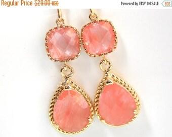 SALE Coral Earrings, Peach Earrings, Grapefruit, Gold, Wedding Jewelry, Bridesmaid Jewelry, Bridesmaid Earrings, Bridal Jewelry, Bridesmaid