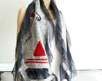 Nuno felted scarf, felt silk scarf, holiday, wearable fiber art