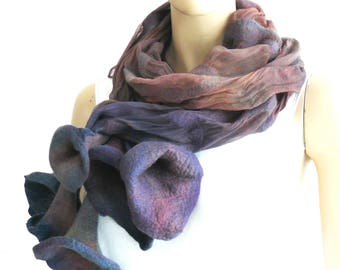 Nuno felted scarf, Floral scarf felt silk scarf, holiday fashion, wearable fiber art
