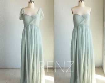 Dusty Mint Bridesmaid Dress, Empire Wedding Dress, Removeable Cap Sleeve Prom Dress, Chiffon Strapless Maxi Dress Floor Length (B064)
