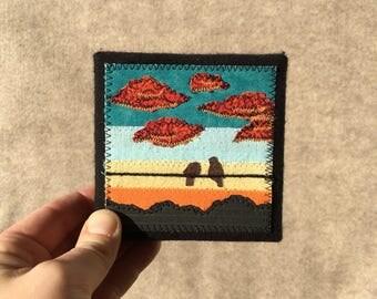 Turquoise Twilight, birds on the wire, 4x4 inch mini canvas, original sewn fabric artwork, handmade