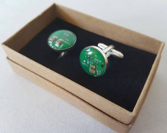 Circuit Board Cufflinks - Upcycled PCB Cuff links