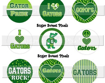 INSTANT DOWNLOAD Emerald Lime green  Gators  School Mascot 1 inch circle Bottlecap Images