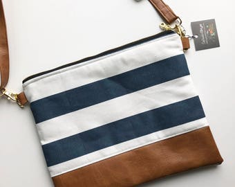 Navy blue and white striped hipster with faux leather strap