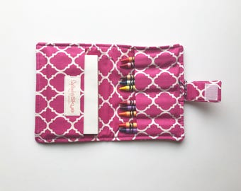 Clearance! Pink lattice kids crayon wallet