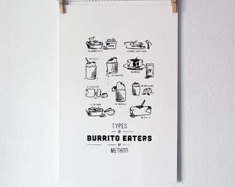 Funny Silkscreen Poster - Types of Burrito Eaters
