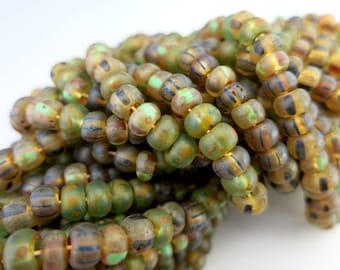 2/0 Peridot Picasso 6mm Seed Beads, Half or Full Strand 130 Beads, Boho Czech Glass Seed Beads, #M2153
