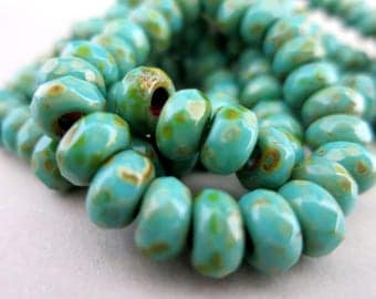Turquoise Picasso Roller Beads, Qty 6,  6x9mm with 3mm Hole, Czech Glass Rondelles
