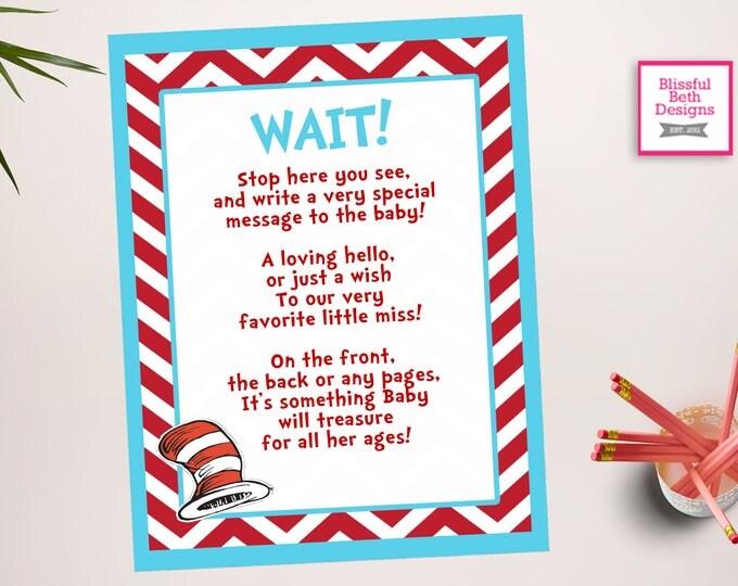 SEUSS GUEST BOOK Sign, Guest Book Sign, Printable Seuss  Sign, Male and Female Guest Book Sign In, Seuss Sign In, Seuss Guest Book Sign