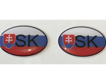 "Slovakia SK Domed Gel (2x) Stickers 0.8"" x 1.2"" for Laptop Tablet Book Fridge Guitar Motorcycle Helmet ToolBox Door PC Smartphone"