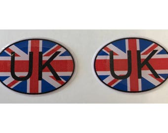 "United Kingdom UK Domed Gel (2x) Stickers 0.8"" x 1.2"" for Laptop Tablet Book Fridge Guitar Motorcycle Helmet ToolBox Door PC Smartphone"