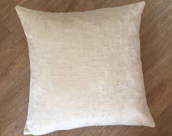 Off white velvet Pillow, designer fabric, HARLEQUIN, mimosa velvet, oyster cushion cover. Cream velvet pillow, plain cushion MoGirl DESIGNS