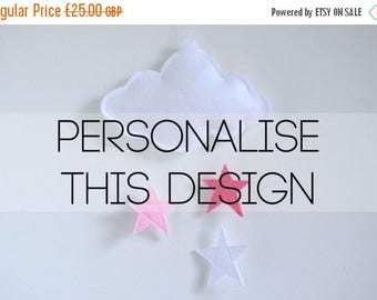 SALE Cloud and Stars Baby Crib Mobile - Personalised