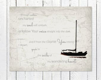 Christian Wall Art | Nautical Wall Decor | Black and White Photography Prints | Song Lyrics | Sailboat Art Print | Inspirational Quote Art