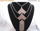 ON SALE Vintage Statement Bib Fringe Runway Necklace, 1960's 1970's Collectible Tassel Jewelry Mid Century Collectible Accessory