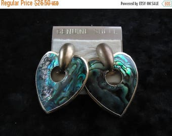 Now On Sale Vintage Abalone Shell Heart Earrings Collectible Costume Jewelry 1980s