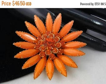Now On Sale Orange Rhinestone Flower Brooch, Vintage Fashion Jewelry Figural Pin, 1950's 1960's Collectible