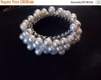 Now On Sale Vintage Faux Pearl Bracelet Expandable Mid Century Collectible Jewelry 1950's 1960's