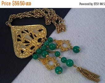 On Sale Vintage Aztec Statement Necklace, 1960's 1970's Collectible Jewelry, Green Glass Stones, Gold Tone Metal, Rare Tribal Runway Jewelry