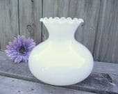 "Antique MILK GLASS Lamp SHADE Parlor Fenton 7"" fitter Oil Kerosene Gas - Replacement Globe White Milkglass Lampshade"