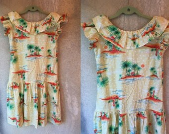 Hawaiian Pale Yellow PALM TREE Ruffled Island Summer Dress