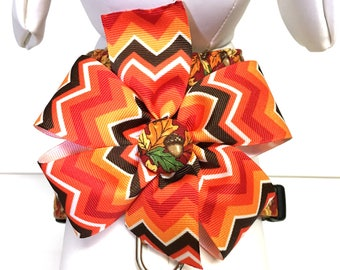 Dog Harness- The Fall Leaves and Acorns- Adjustable Harness- Removable Bow