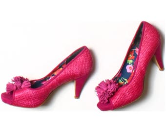 Next Pink Woven Sisal Peep Toes Tassel Heels Shoes UK 5.5 US 8 EU 38.5