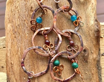 """Hand Soldered Boho """"Celtic Gypsy"""" Rustic Hammered Copper and Gemstone Earrings Shoulder Dusters"""