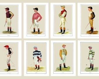 Set of 8 Jockey Prints Size 8 x 10 inches. 15% Discount Price Jockey Prints. Victorian Horse Racing Jockey Prints